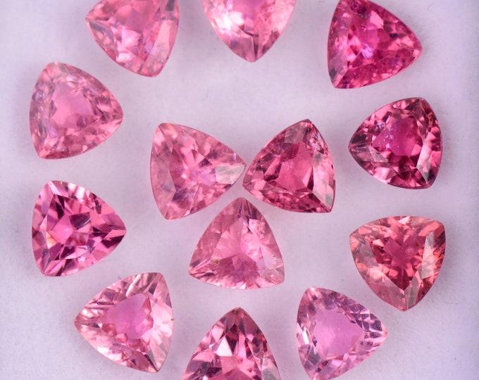 Fabulous Hot Pink Tourmaline Gemstone Set, 6.87 tcw., 5.5 mm., Trillion Shape