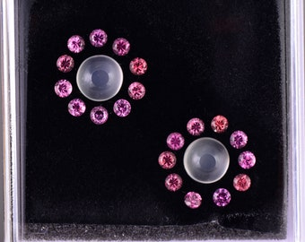 Beautiful Moonstone and Spinel Gemstone Set, 7.55 tcw., 8 and 3 mm, Round Cuts