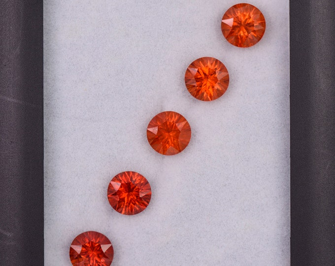 Gorgeous Orange Spessartine Garnet Gemstone Set, 9.94 tcw., 7.25 mm., Concave Round Cut