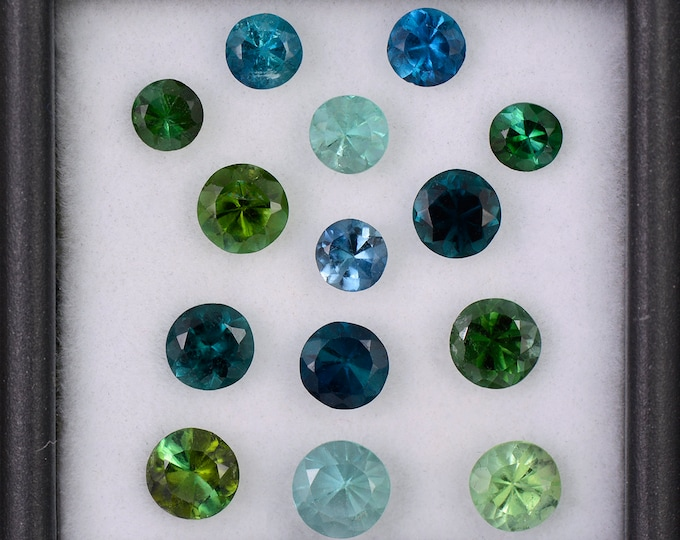 Stunning Blue and Green Tourmaline Gemstone Set from Brazil, 5.02 tcw., 5 mm to 4 mm., Concave Round Cuts