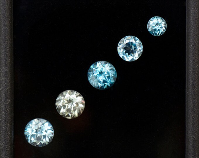 Dazzling Blue Zircon Gemstone Set from Cambodia 3.03 tcw.