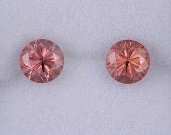 Brilliant Peachy Pink Zircon Gemstone Match Pair, 2.86 tcw., 6 mm., Round Brilliant Cut