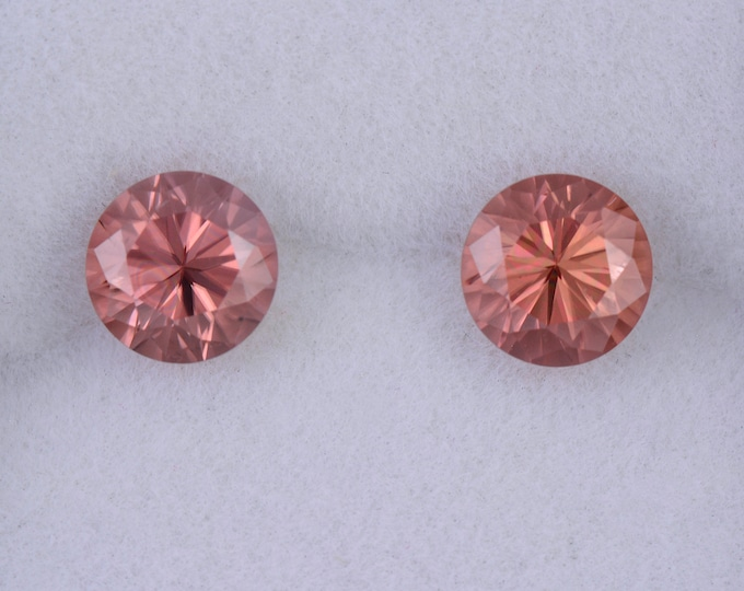 Brilliant Peachy Pink Zircon Gemstone Match Pair, 2.86 tcw., 6 mm., Round Brilliant Cut