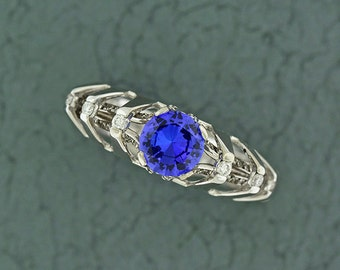 Unique Architectural Engagement Style Tanzanite and Diamond Ring in 14kt White Gold