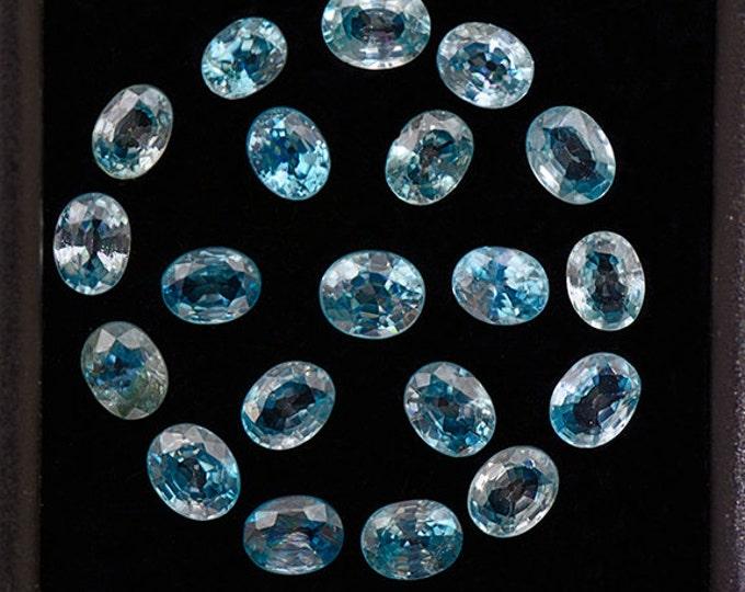 SALE! Stunning Electric Blue Zircon Gemstone Set from Cambodia 7.82 tcw.