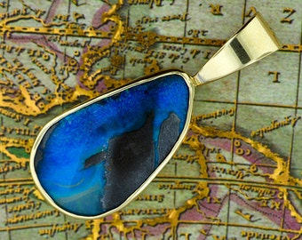 Pretty Blue Boulder Opal Pendant in 14 kt Yellow Gold