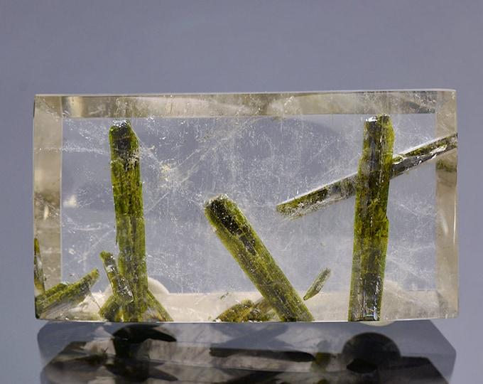 Unique Quartz with Epidote Inclusion Gemstone from Brazil 102.50 cts
