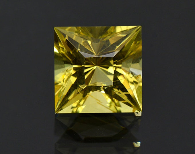 Custom Princess Cut Golden Heliodor Gemstone from the Ukraine 8.34 cts.