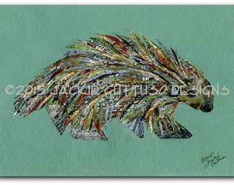 "Porcupine art print, 5 x 7"" giclee print, Woodland nursery collage art, Porcupine painting print, Forest animal nursery, Porcupine decor"
