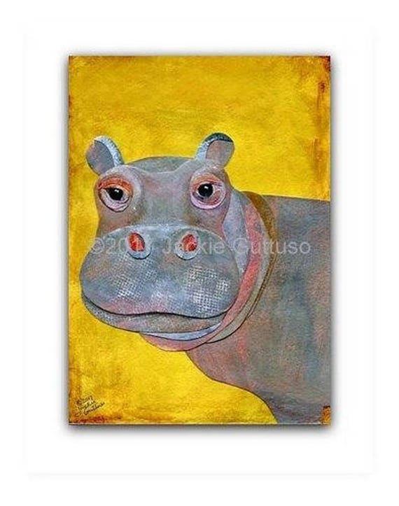 Hippo painting print 5 x 7 giclee Animal nursery