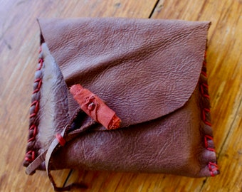 Handmade to Order, Soft Leather and Twine Cigarette/Tobacco/Cash Belt Pouch (can be used for any other purposes)