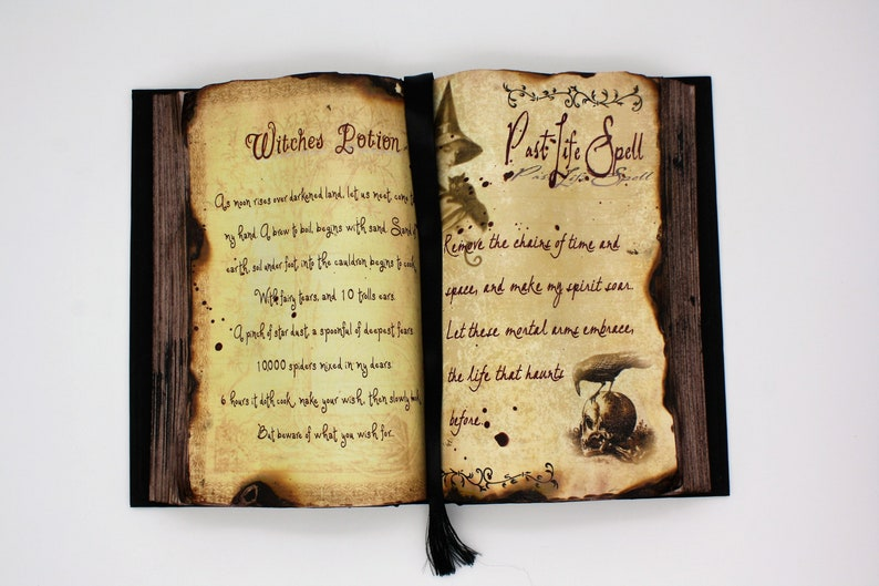 Witches Potion and Past Life Spell Halloween Decor Spell Book