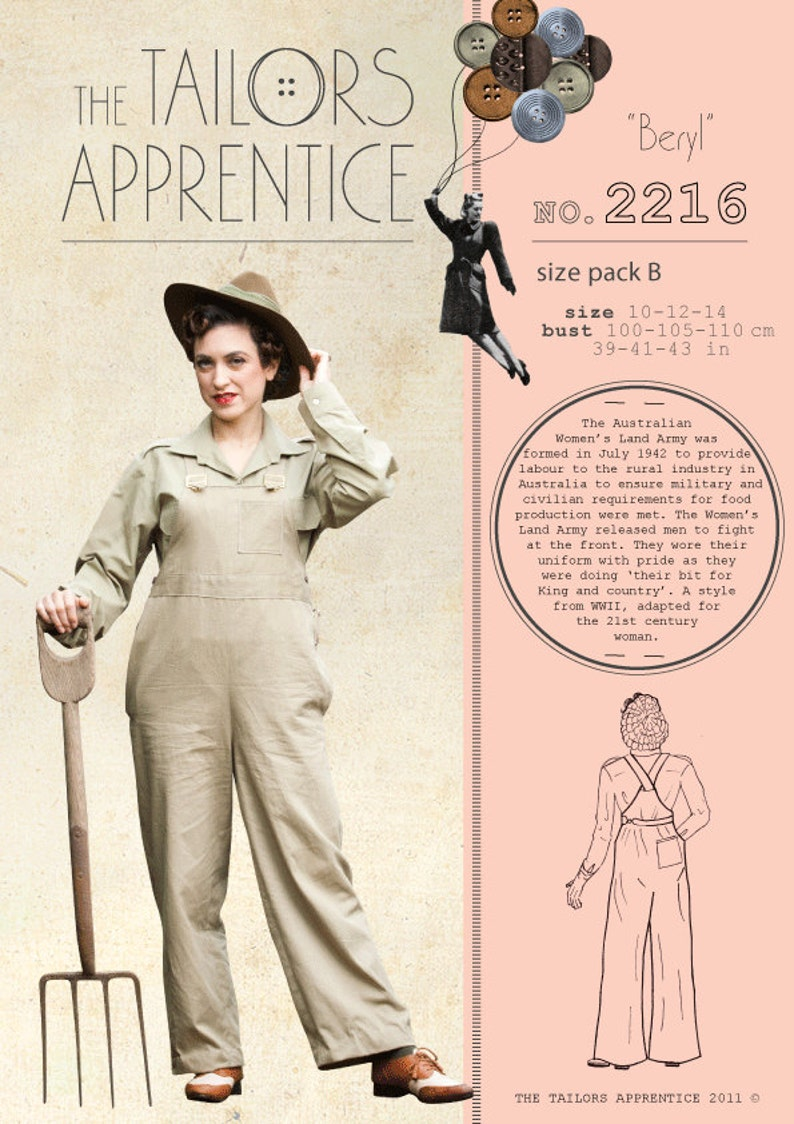 1940s Women's Outfit Inspiration Pack B 14-16-18 Australian land army women overalls sewing pattern WWII digging your victory garden or working for WWII war effort $7.65 AT vintagedancer.com
