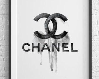 d1a79e5d852f Chanel Logo Watercolor Illustration Archival Art Print Fashion Painting  Artistic Wall Art Home decor Dripping Paint Artwork by Nevena Zamfi