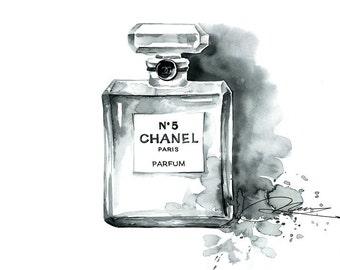 Chanel No 5 Perfume Archival Art Print Watercolor Illustration Fragrance Fashion Painting Wall Art Home decor Paris Scent Artistic Artwork