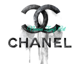 a1b48ae6558b Canvas Art print Chanel dripping logo Wall Art Home decor, Chanel Canvas  art, Chanel large canvas, Dripping Chanel logo art, Chanel print