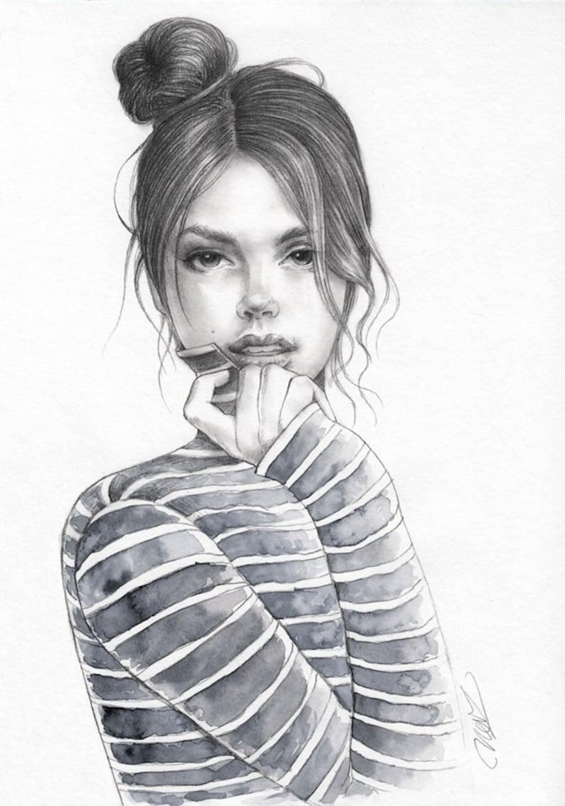 Original Pencil And Watercolor Fashion Illustration Unique Etsy