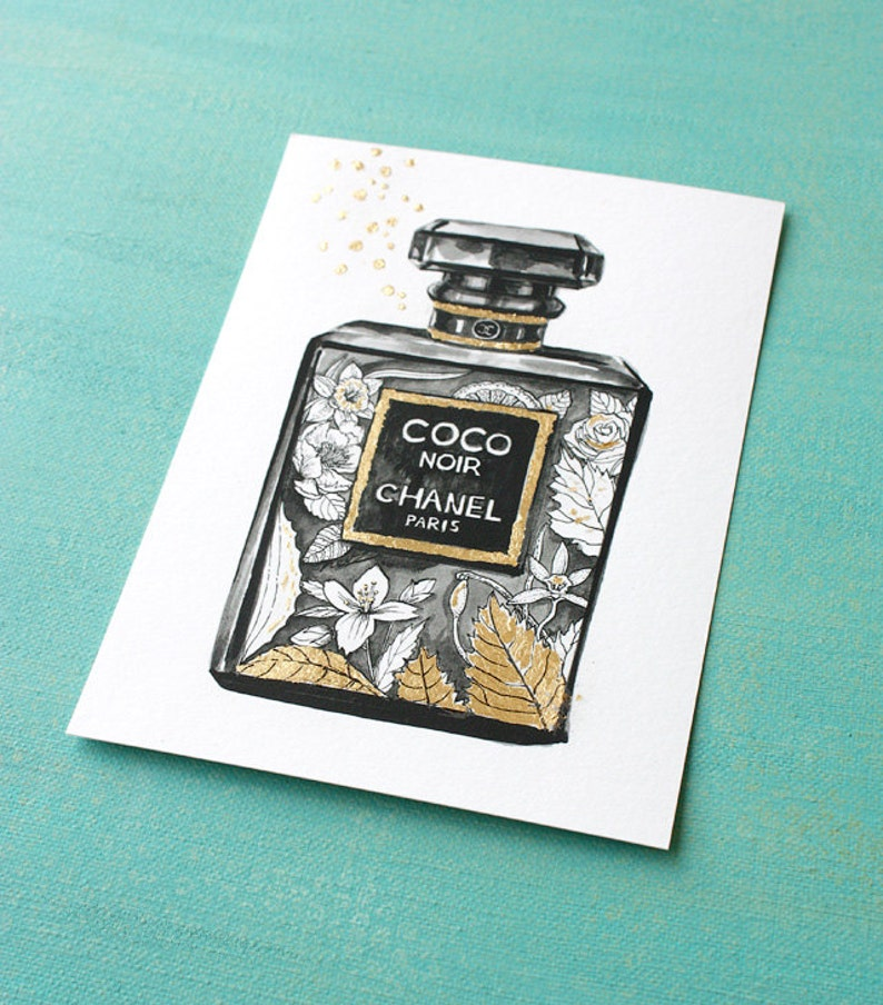 Coco Noir Gold Leaf Chanel Perfume Watercolor Illustration Etsy