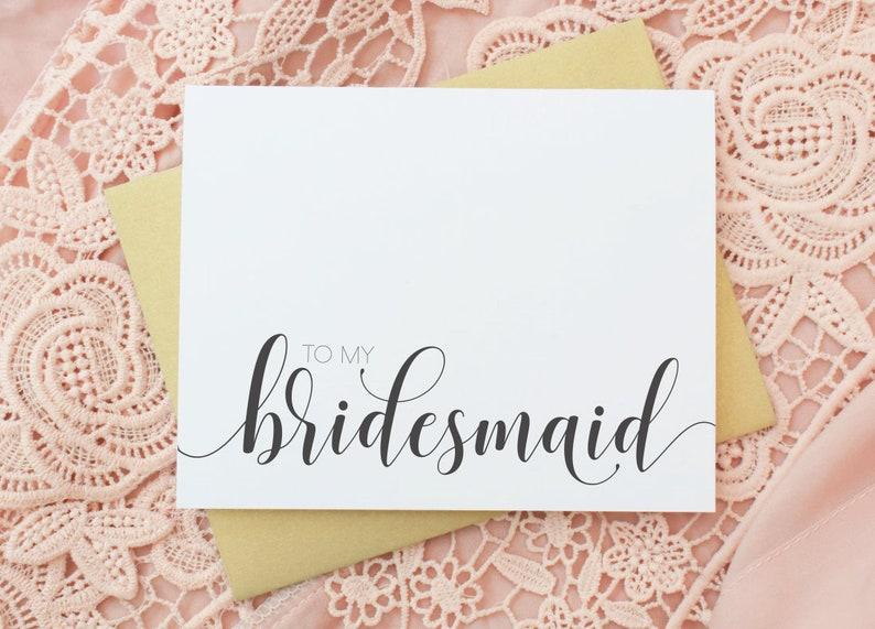 Gold Wedding Cards Will you be my Bridesmaid Cards To My Bridesmaid Maid of Honor EL217 Bridal Cards- Bridesmaid Card