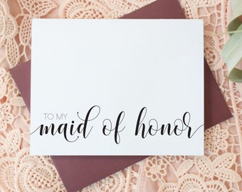 Maid of Honor Thank You Cards - Wedding Thank You Cards - Bridesmaid - Flower Girl - Matron of Honor EL217