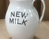 White Stoneware NEW MILK Pitcher