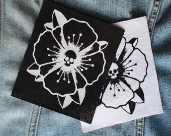 Poppy Skull, Screen Printed Patch
