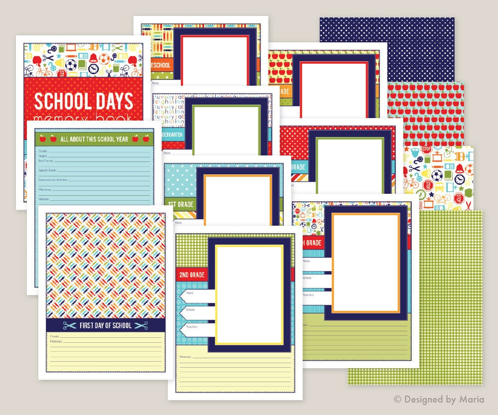 photograph regarding Preschool Memory Book Printable known as Faculty Memory Ebook Printables: Preschool - 5th Quality College Times Ebook - 8.5 x 11 inches - Instantaneous Obtain - Quality Website page, Study, Very first Working day
