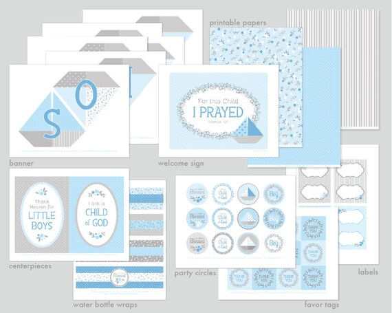 Lds Baby Boy Paper Boats Blessing Party Printable Set Or Etsy