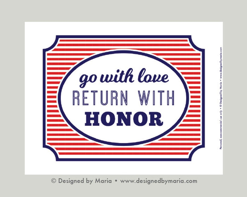 photo regarding Will Return Sign Printable named Farewell Decoration Printable: Patriotic Bash Signal - Transfer with Get pleasure from, Return with Honor - Bye Welcome Indicator - Purple, White Blue - Marines, Armed service