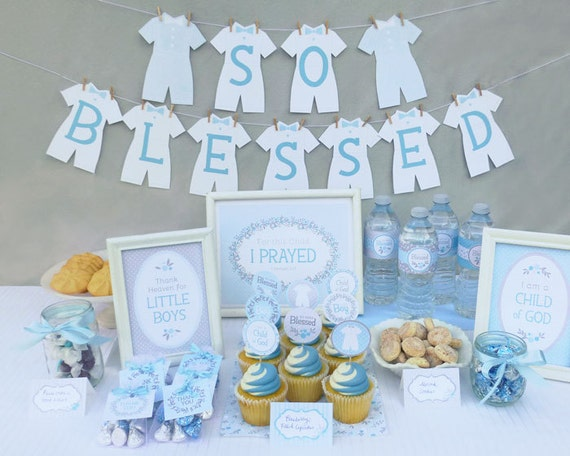 Lds Baby Boy Blessing Party Printable Set Or Christening Party Etsy