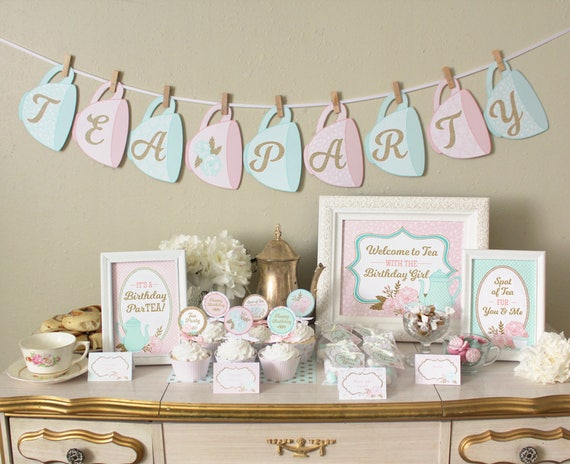 image regarding Tea Party Printable referred to as Tea Get together Birthday Social gathering Printable Fixed Decorations: Clic Shabby Stylish Patterns - Crimson, Mint, Gold Pack - Invites, Cupcake Toppers