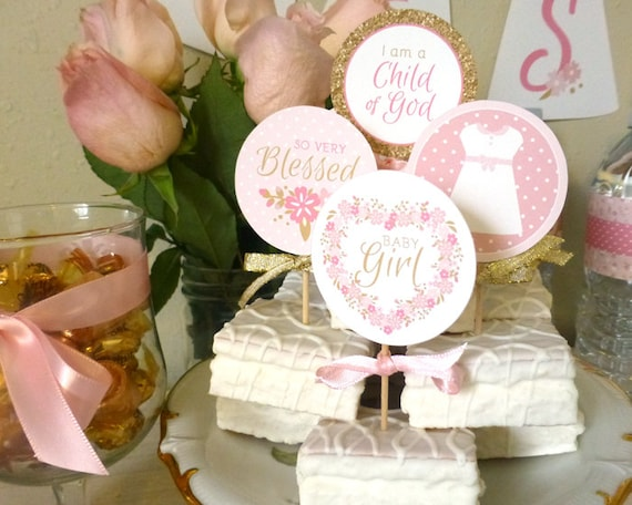 Baby Girl Blessing Cupcake Toppers Printable 2 Party Etsy