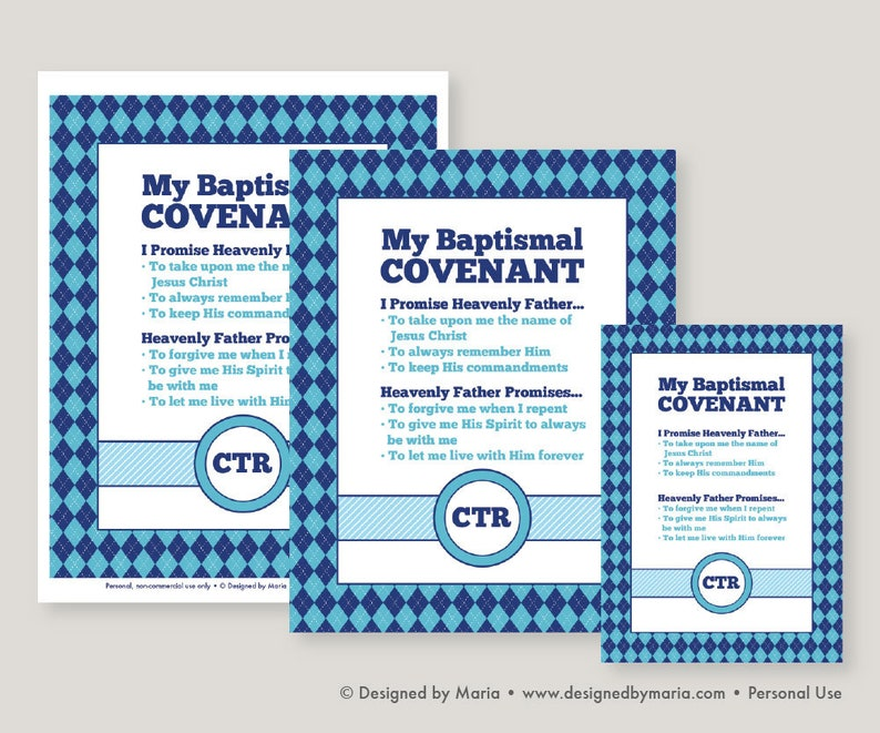 LDS Baptismal Covenant Printable Art Sign: Blue and Navy for Boys Decor -  Reminder, Memento, Baptism Gift - 8 x 10, 5 x 7 Download