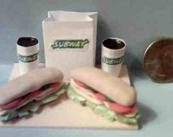 Barbie And American Girl Sized Subway Sub Sandwich Food Display Board