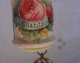 Upcycled Vintage Antique Ephemera Vintage Wood Spool Wooden Spool Ornament - Atlantic Rock Threads