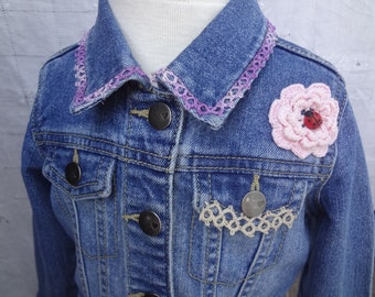 Child's Embellished Denim Jean Jacket Coat with Vintage Embellishment OOAK Size 2T Upcycled Repurposed Pre-owned - Atlantic Rock Threads