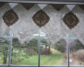 CLEARANCE - Window Topper Curtain Upcycled Repurposed Vintage Napkins Shabby Country Chic Topper Curtain- Atlantic Rock Threads