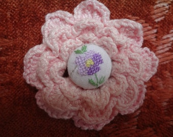 Textile Brooch from Upcycled Embroidered Crochet Vintage - Atlantic Rock Threads