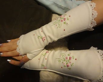 Upcycled Embroidered Fingerless Dress Gloves Shabby Elegance Gloves Bridal Wedding Gloves Vintage Victorian Look Gloves