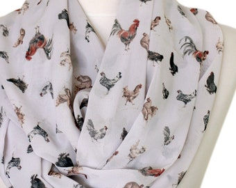 Rooster & Chicken Print Infinity scarf Circle scarf Loop scarf Scarves Shawls fall winter fashion animal scarf gift for her under 20 dollars