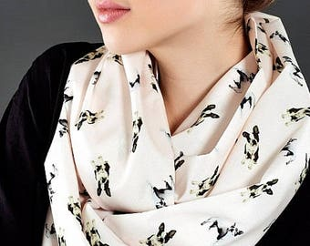 Boston Terrier Scarf Infinity Scarf Dog Scarf Fall Fashion Gift For Her Pet Owner Lover Pet Gift Animal scarf Gift for Women Black Friday