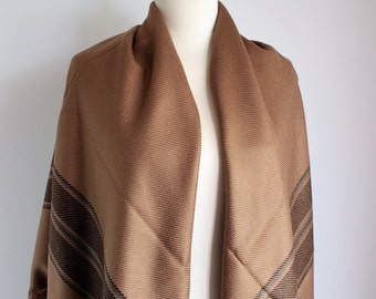 Brown Blanket Scarf, Oversized Plaid Tartan Warm Fringe Scarf, Square Scarf, Women Men Scarf, Scarves, Winter Fashion