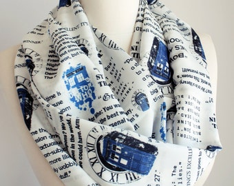 Dr Who Tardis Scarf Doctor Who Scarf Infinity Scarf Geek Gift For Women Her Accessories Fall Fashion Gift Dr Who Fan women gift black friday