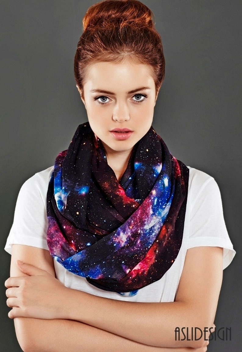 Galaxy Infinity Scarf Black Nebula Scarf Birthday for Women image 0