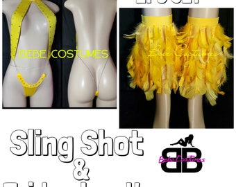 Bebe Costumes Exotic Dancewear Sexy Stripper Wear Bling Sling Shot W/ fridge feather leg warmers (Pick A Color) Made2Order