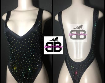 Bebe Costumes Exotic Dancewear Stripper Wear BlingOut Thong One Piece/ Onesie / Bodysuit (pick a color)