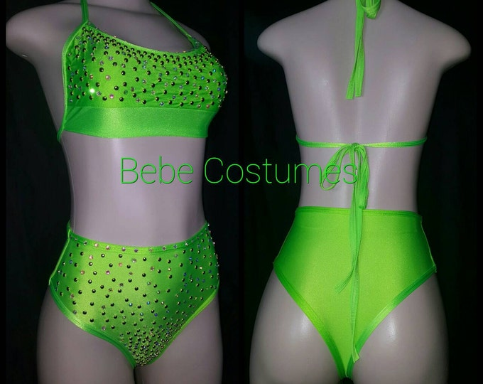 Bebe Costumes Exotic Dancewear Stripper Wear Bling High Waist & Top Pick Any Color