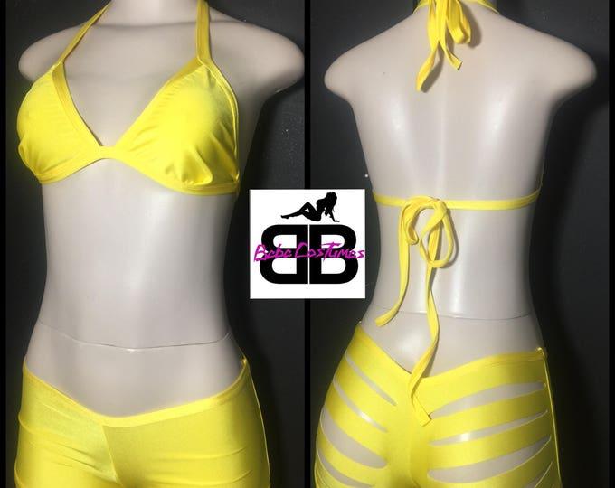 Bebe Costumes Made2Order Exotic Dancewear Stripper Wear 2pc T-top & Boyshorts w/cuts