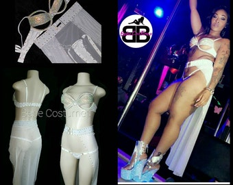Bebe Costumes Made2Order Sexy Bling cut Bra w/ thong and belt skirt 3pc
