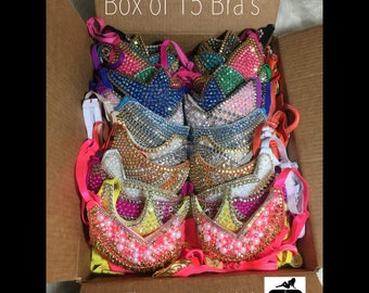 Bebe Costumes Exotic Dancewear wholesale BOX of 15 Bling Bra's thong included Made To Order-